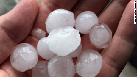 Hail was reported Tuesday in West Wichita, Kansas, and the surrounding region.
