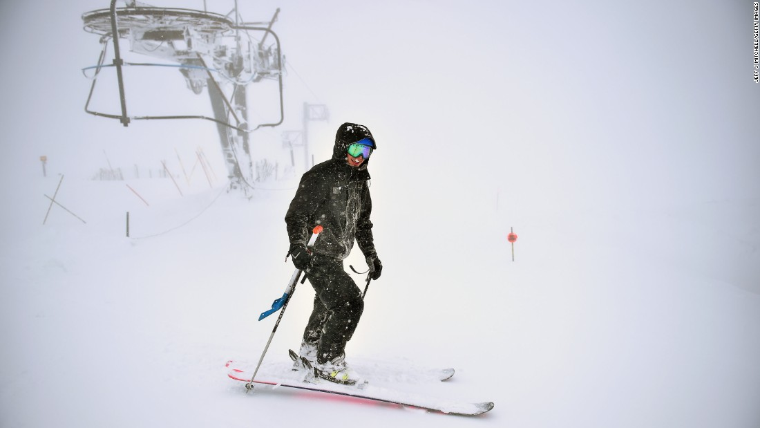 A skier enjoys fresh snow in Aviemore, Scotland, on Tuesday, April 26.