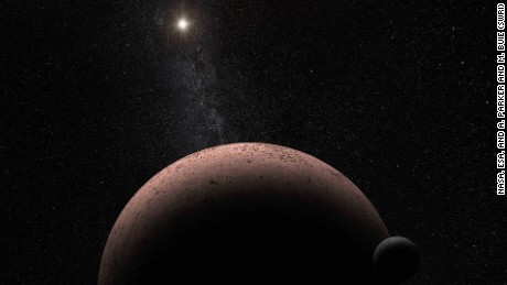 This Hubble image reveals the first moon ever discovered around the dwarf planet Makemake. The tiny satellite, located just above Makemake in this image, is barely visible because it is almost lost in the glare of the very bright dwarf planet. Hubble's sharp-eyed WFC3 made the observation in April 2015. Credits: NASA, ESA, and A. Parker and M. Buie (SwRI)