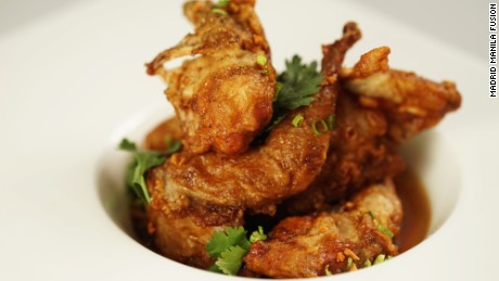Chef Leah Cohen's adobo is made with fried quail instead of the traditional chicken or pork.