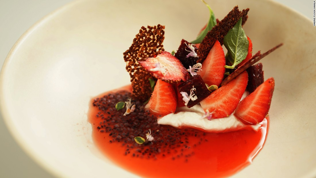 British Chef Nurdin Topham, of Hong Kong's Nur,   declared himself a huge fan of Filipino produce. His take on strawberries and cream used only locally sourced ingredients, including fermented buffalo yoghurt with cultured cream and end-of-season Filipino strawberries.