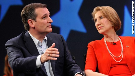 Republican presidential candidate Sen. Ted Cruz and former candidate Carly Fiorina in a discussion with political commentator Sean Hannity during a campaign rally at Faith Assembly of God Church on March 11, 2016 in Orlando, Florida. T
