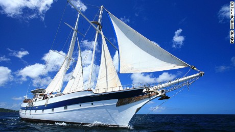The 100-foot Diamant schooner visits ports in the Windward Islands.