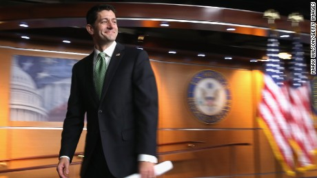 House Speaker Paul Ryan (R-WI), walks way after speaking to the media during his weekly news conference on Capitol Hill, on April 21, 2016 in Washington, DC.