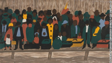 "The Migration Series, Panel 60: ""And the migrants kept coming"" by Jacob Lawrence  (1940-41)"