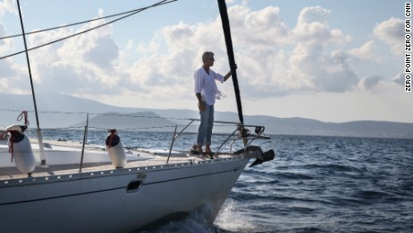 Anthony Bourdain: Parts Unknown - 401 - Greece  Tony stands at the Bow of the Penelope sailboat as we circle around Naxos, Greece.