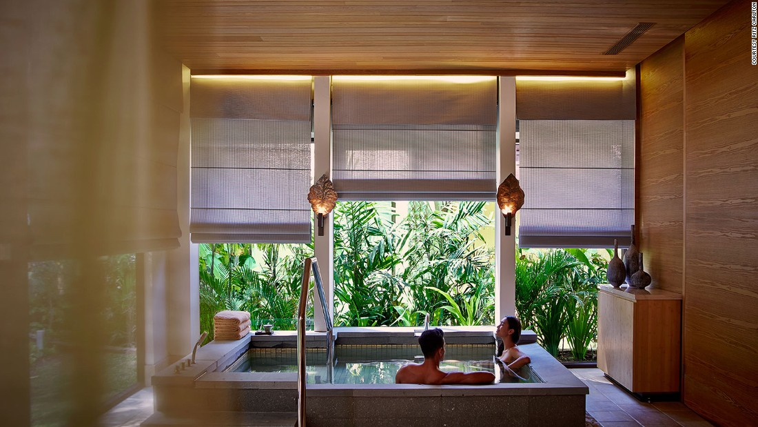 Just six months old, Spa at Ritz-Carlton in Bali has two Jacuzzis, cold plunge pools, steam and sauna rooms and a yoga studio overlooking the Indian Ocean.