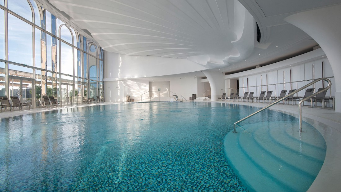 The ultramodern, four-level Thermes Marins overlooks Monte Carlo Harbor and has its own own hammam, an ocean-facing saltwater pool, a state-of-the-art gym and a full-service beauty salon.