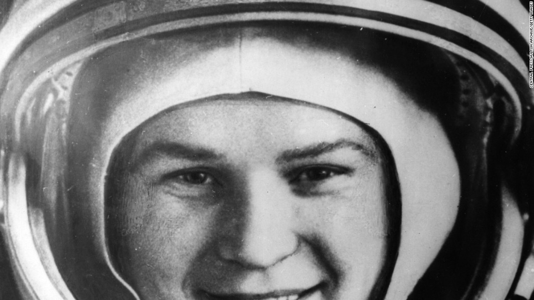 Russia's Valentina Tereshkova became the first woman in space in 1963 -- this photo was taken shortly before take off. At the time it was unknown how a woman's health may be affected in space.