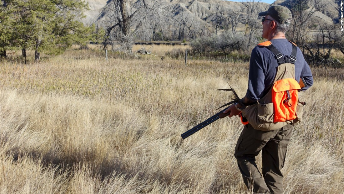 Outside of Denton, Montana, Bourdain hunted for pheasant and talked with conservationists about land management.