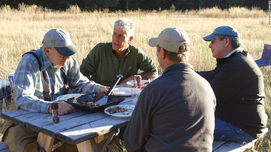 Bourdain had lunch with journalist David McCumber (left), rancher Bill Galt (far right) and fly fisherman Lee Kinsey on Galt Ranch. Landowner Galt and his friend McCumber are at odds over stream access.