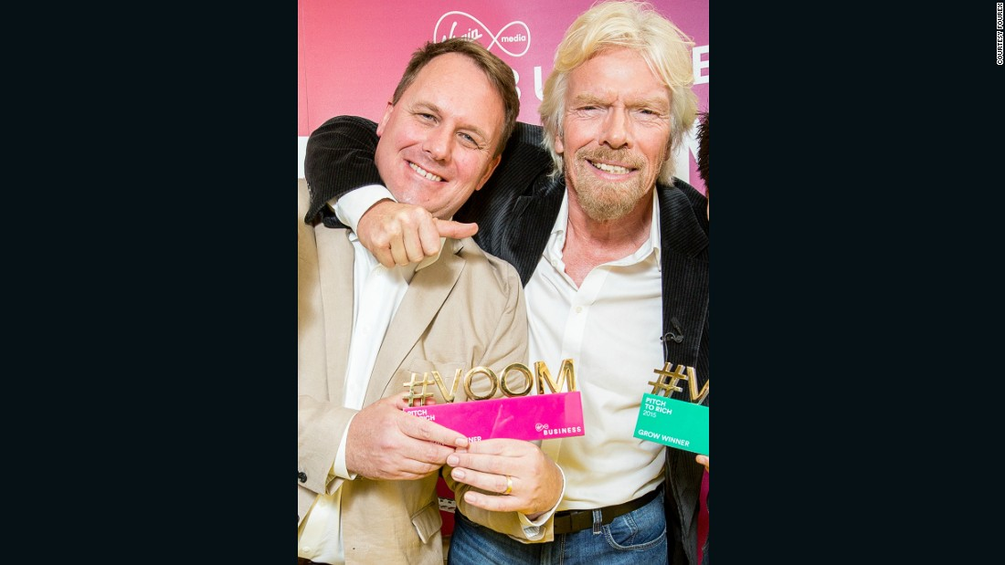 Fourex co-founder Jeff Paterson with Richard Branson when his company won Virgin Media's Pitch to Rich competition in 2015.