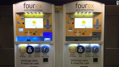 Fourex money exchange machines at King's Cross station