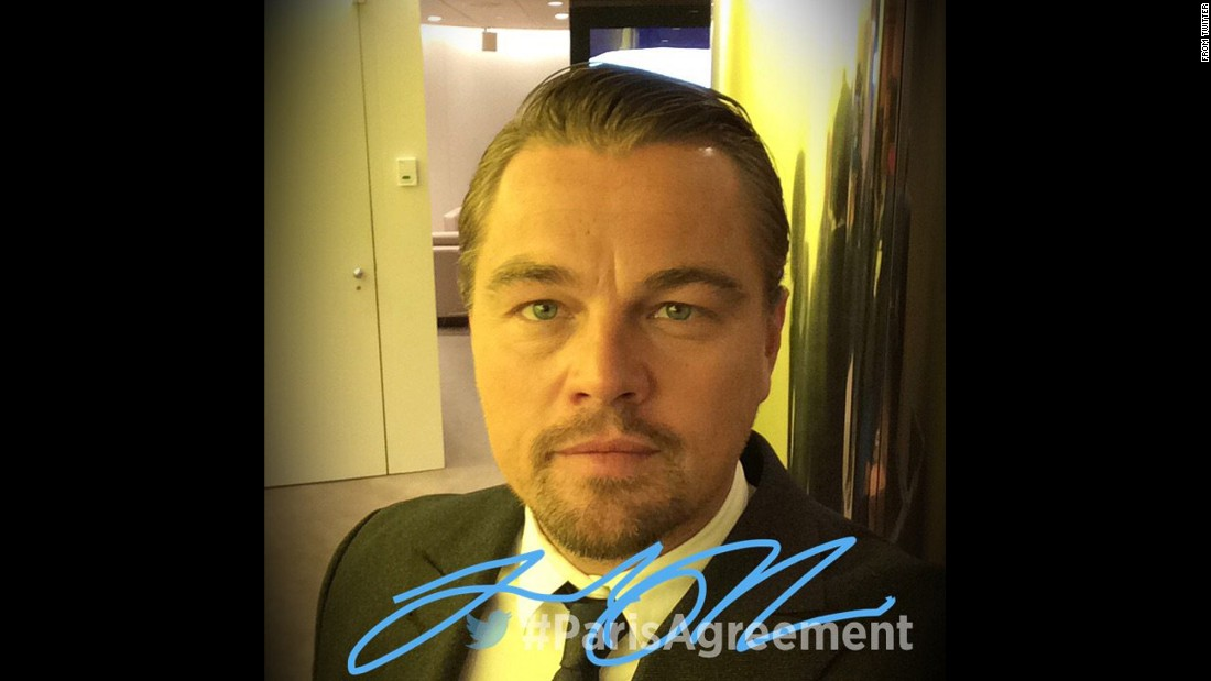 "The United Nations posted this selfie of actor Leonardo DiCaprio to <a href=""https://twitter.com/UN/status/723617085625081856"" target=""_blank"">its Twitter account</a> on Friday, April 22. DiCaprio was designated a U.N. Messenger of Peace in 2014."