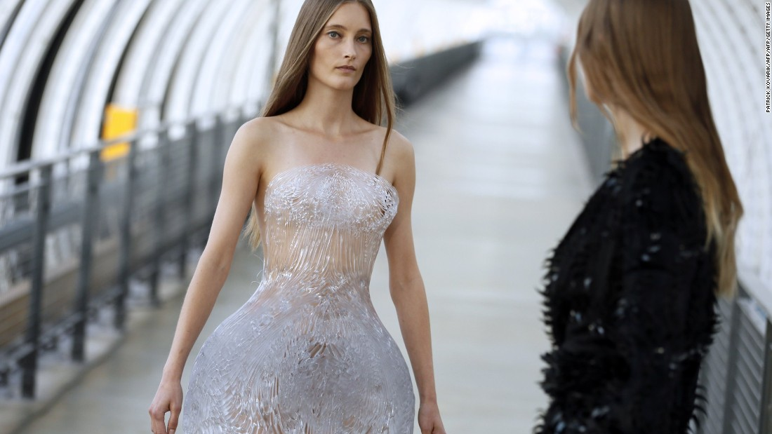 "This collection, titled ""Magnetic Motion,"" was shown at Paris' Centre Georges Pompidou. The 3D-printed crystalline dress was created with architect Niccolo Casas."