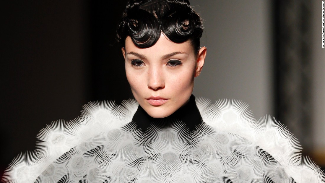 "Dutch designer Iris van Herpen is <a href=""http://edition.cnn.com/2016/05/02/fashion/iris-van-herpen-manus-x-machina/"">known</a> for her ability to blend fashion with technology. Above is an image from her 2013 ""Voltage"" collection, which featured garments created using 3D printing. This item in particular features 3D-printed spikes."