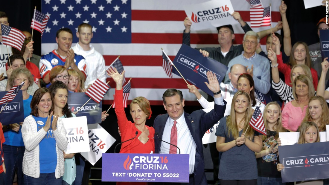 "U.S. Sen. Ted Cruz, a Republican presidential candidate, waves with Carly Fiorina <a href=""http://www.cnn.com/2016/04/27/politics/ted-cruz-carly-fiorina-vice-president/"" target=""_blank"">after naming her his running mate</a> on Wednesday, April 27."