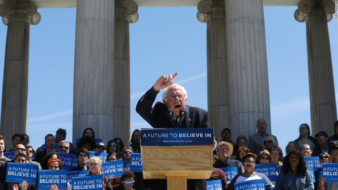 U.S. Sen. Bernie Sanders, who is seeking the Democratic Party's presidential nomination, speaks during a rally in Providence, Rhode Island, on Sunday, April 24.