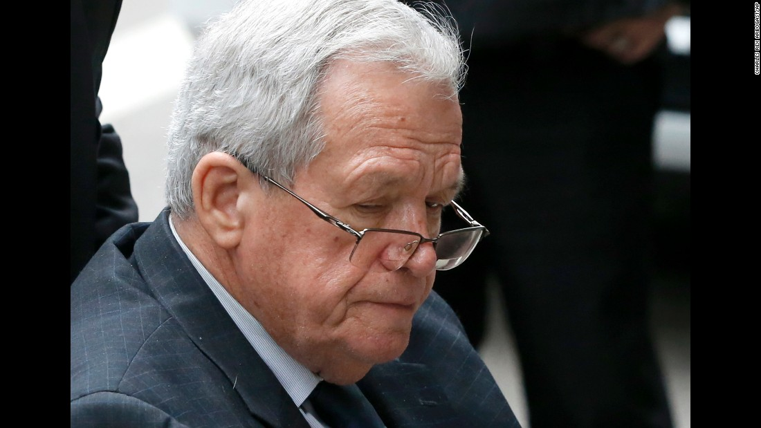 "Former U.S. House Speaker Dennis Hastert leaves a federal courthouse in Chicago on Wednesday, April 27. <a href=""http://www.cnn.com/2016/04/27/politics/dennis-hastert-sentencing/"" target=""_blank"">He was sentenced to 15 months in prison</a> in a hush-money case that revealed he was accused of sexually abusing boys as a teacher in Illinois. He was also ordered to pay $250,000 to a victims' fund."