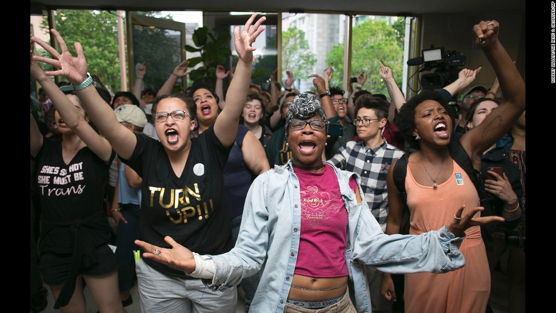 """People <a href=""""http://www.cnn.com/2016/04/26/us/north-carolina-transgender-protest-arrests/"""" target=""""_blank"""">protest the Public Facilities Privacy and Security Act</a> at the State Legislative Building in Raleigh, North Carolina, on Monday, April 25. The law, also known as House Bill 2 or HB2, put in place a statewide policy that bans individuals from using public bathrooms that do not correspond to their biological sex. It also stopped cities from passing anti-discrimination ordinances to protect gay and transgender people."""