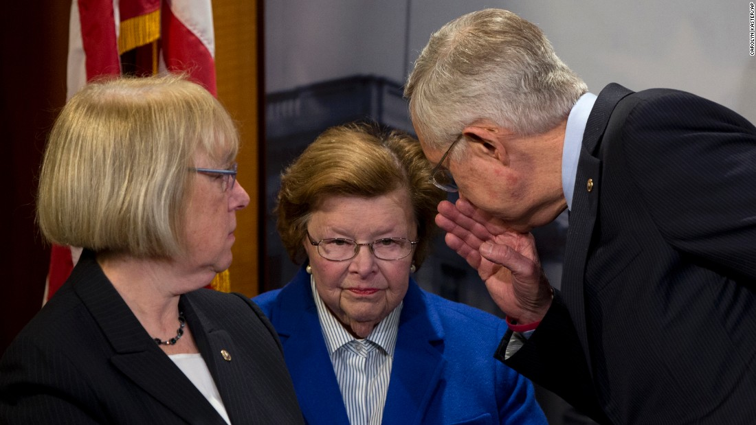 "Senate Minority Leader Harry Reid leans in to speak to U.S. Sen. Barbara Mikulski during a news conference in Washington on Wednesday, April 27. U.S. Sen. Patty Murray, left, also attended the news conference, which called on congressional Republicans <a href=""http://www.cnn.com/2016/04/26/politics/zika-virus-congress-white-house-fight/"" target=""_blank"">to approve money aimed at combating the Zika virus.</a>"