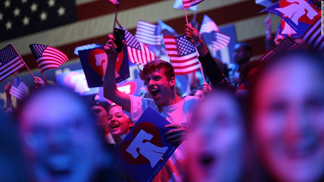 Hillary Clinton supporters cheer during a primary night gathering in Philadelphia on Tuesday, April 26.