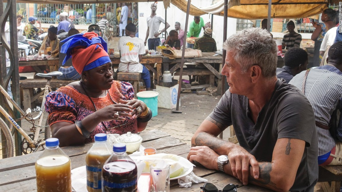 """Parts Unknown"" host Anthony Bourdain traveled  to Senegal, a unique intersection of West African culture, Islamic tradition and French European culture. He starts his trip with National Public Radio correspondent Ofeibea Quist-Arcton at the busy food stalls of Marche Kermel in Dakar."