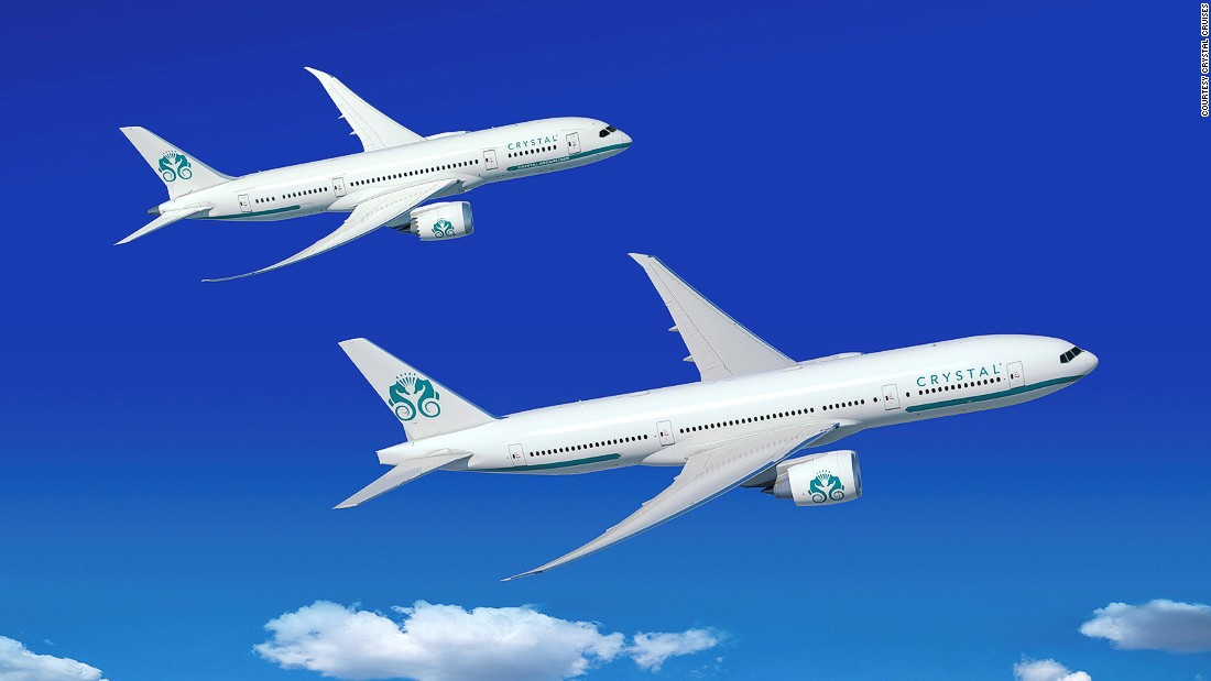 U.S.-based travel operator Crystal Cruises has acquired a Boeing 777-200LR and a Boeing 787-8 Dreamliner. It plans to turn them into customized VIP jets for round-the-world trips, as shown in these artist's concepts.