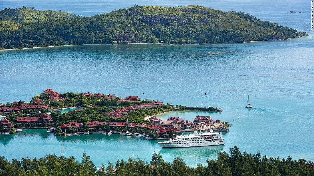 The Crystal Esprit gives passengers the chance to swim, snorkel, water ski and jet ski in the waters of the Seychelles (pictured) and the Adriatic Sea.