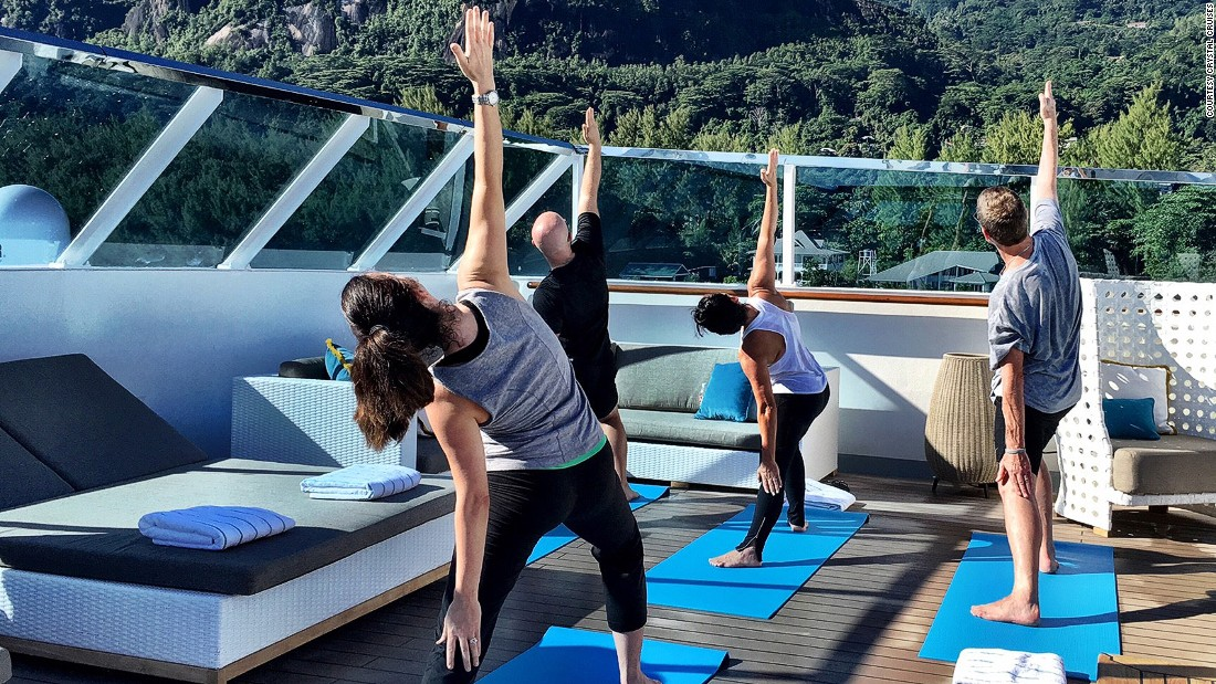 Activities on board the Esprit include yoga, meditation and Pilates. There's also an on-board gym.