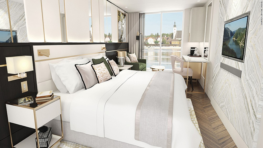 This artist's concept shows a room on board the Crystal Mozart. Cruise-only fares for the trip around Danube's capitals and the Wachau Valley start at $5,585 per person.