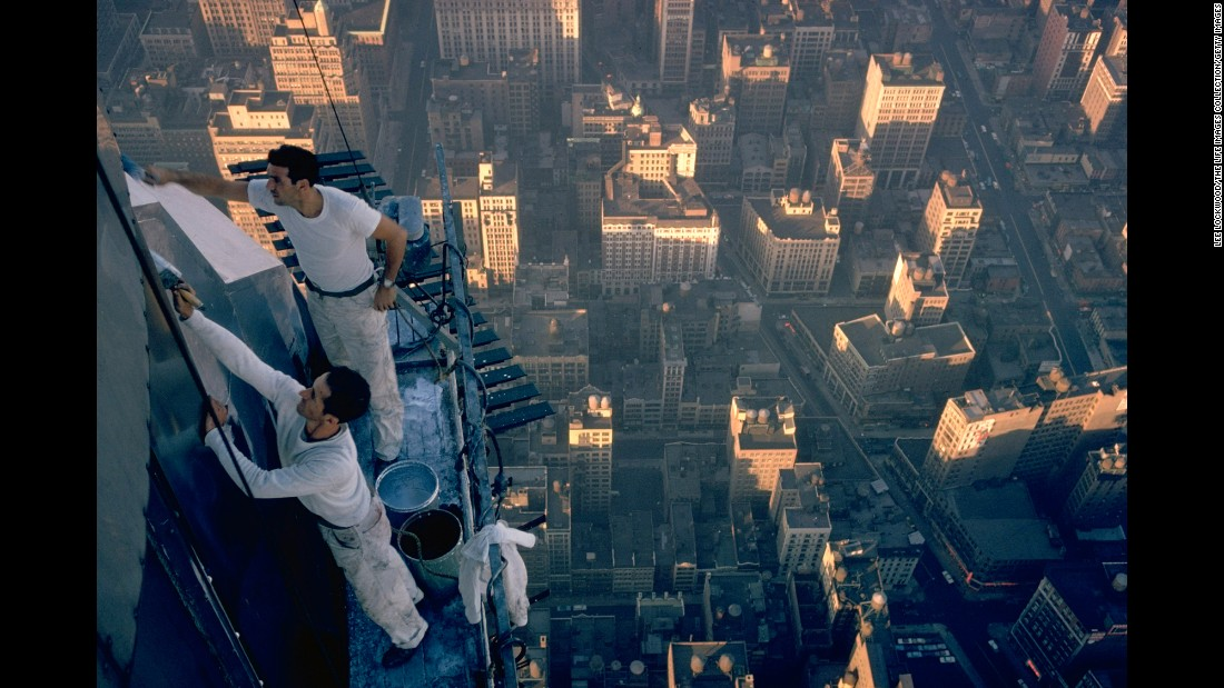 Workmen clean the exterior of Empire State Building in 1962.