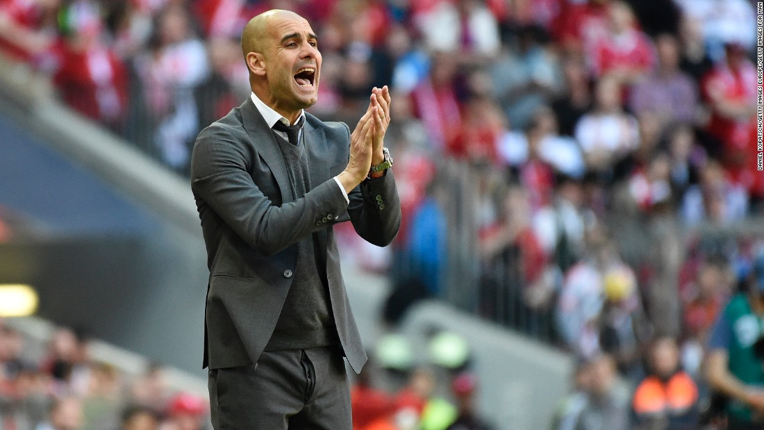 Coach Josep Guardiola of Muenchen reacts during the Bundesliga match between FC Bayern Muenchen and Borussia Moenchengladbach at Allianz Arena.