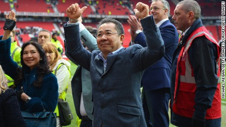 Chairman of Leicester City Vichai Srivaddhanaprabha acknowledges the fans after the Barclays Premier League match between Manchester United and Leicester City at Old Trafford on May 1, 2016 in Manchester, England
