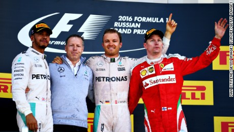 Lewis Hamilton, Nico Rosberg and Kimi Raikkonen celebrate on the podium