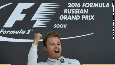 Nico Rosberg celebrates his win at the Russian Grand Prix
