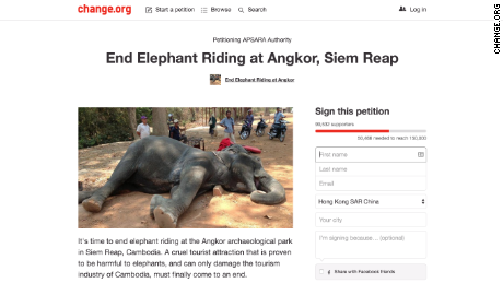 A petition to end elephant riding in Siem Reap has gathered almost 100,000 signatures.