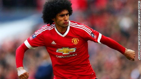 Marouane Fellaini and his long locks seen at Wembley Stadium on April 23.