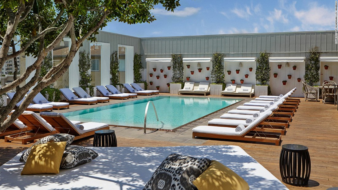 The Mondrian's lofty Outdoor Living Room features a lovely teak deck, mosaic poolside tables, groovy up-tempo house mixes (pumped underwater) and perfect L.A. panoramas.