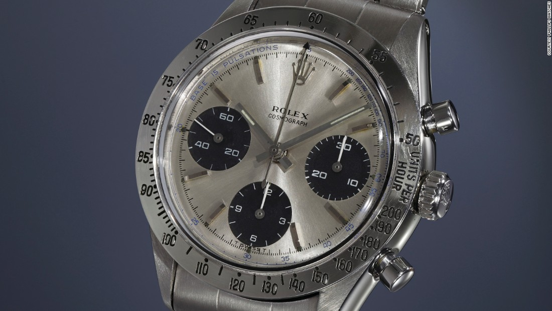 """The Daytona was designed for motor racing enthusiasts with a scale for converting time into speed.  This example, however, has a pulsometer scale for calculating heart rates instead. <br /><br />Known as """"The Doctor,"""" this watch was made in 1966. One of less than a handful known to exist, Phillips calls it """"one of the rarest treasures in the revered Rolex Daytona family."""""""