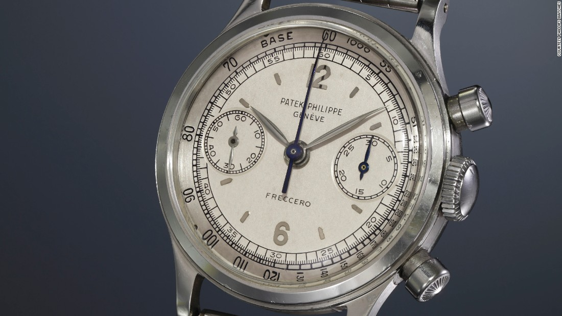 Patek dress models in gold command higher auction prices, but the rare stainless steel sports models are much cooler. This water-resistant chronograph from 1955 features a two-tone silvered dial, applied Arabic and baton hour markers, and an outer tachometer scale. It was sold by the famed firm of Freccero & Cia.<br />
