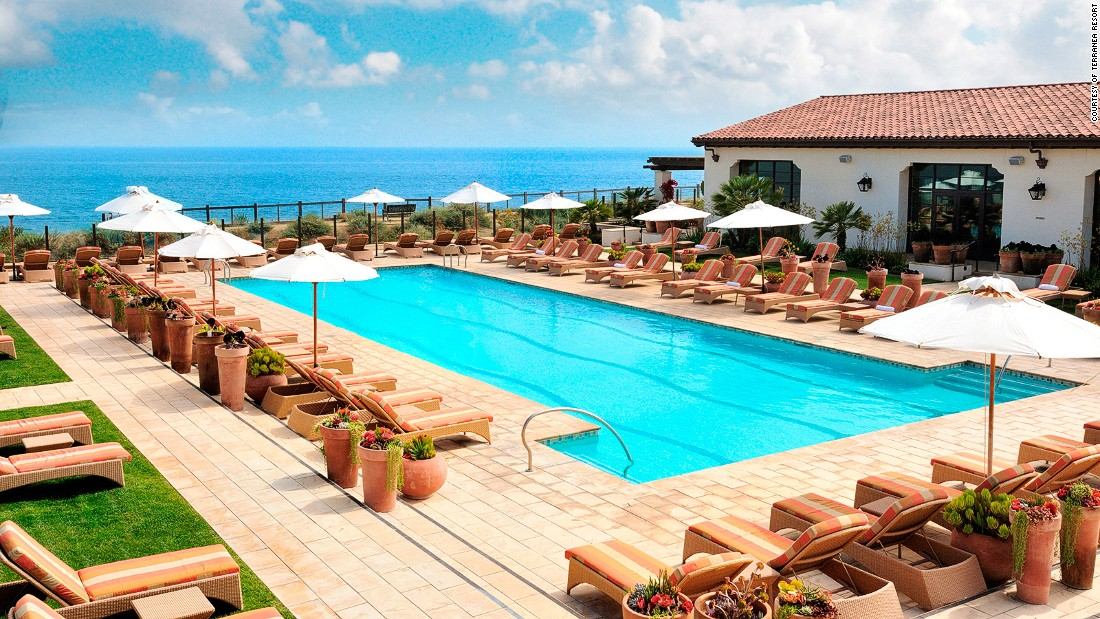 The Terranea Resort's Spa Pool has private cabanas and fire pits. All four pools are open to resort guests only.