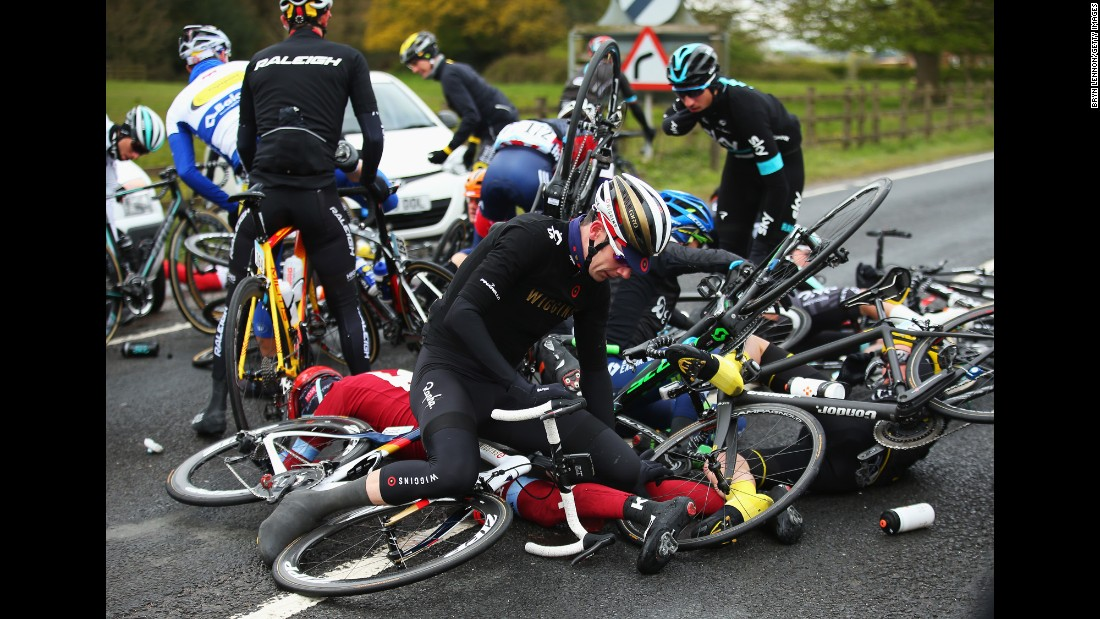 Cyclists crash in Beverley, England, during the first stage of the Tour de Yorkshire on Friday, April 29.