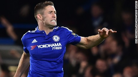 Chelsea defender Gary Cahill celebrates scoring against Spurs.