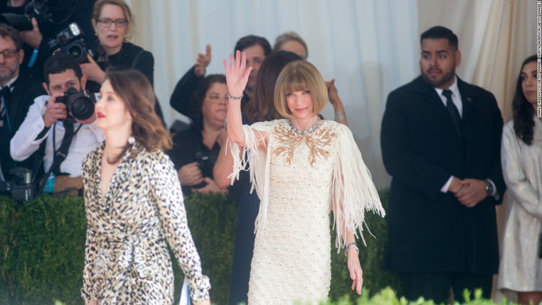Vogue editor-in-chief, Anna Wintour, wears Chanel.