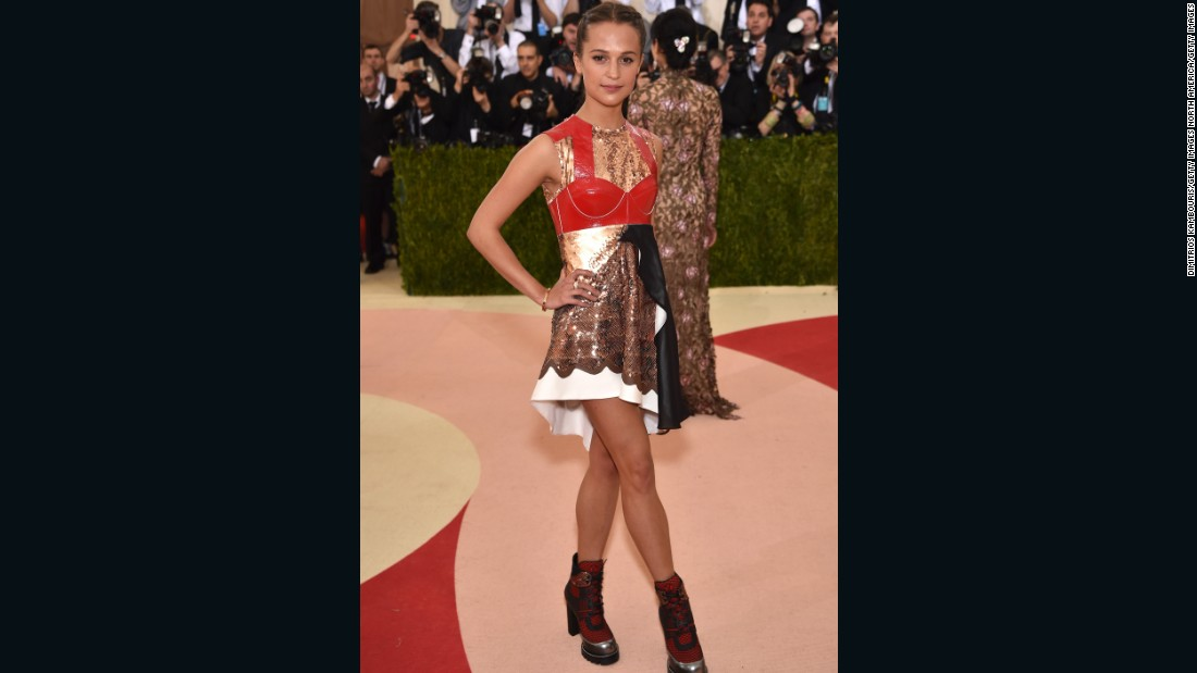 Actress Alicia Vikander was dressed in Louis Vuitton.
