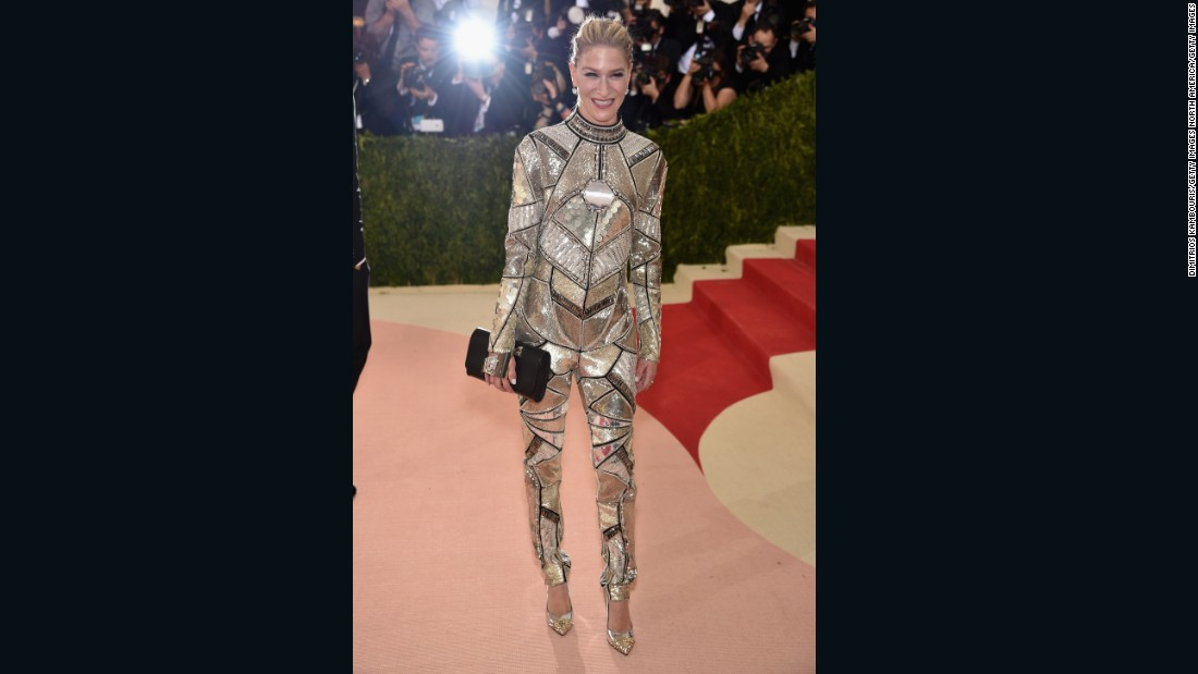 Julie Macklowe attended the gala in a metallic jumpsuit by Phillip Plein.