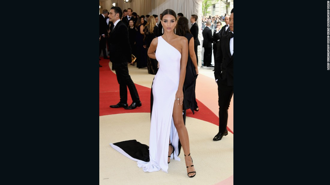 Emily Ratajkowski attends Met Gala in a gown by Prabal Gurung.