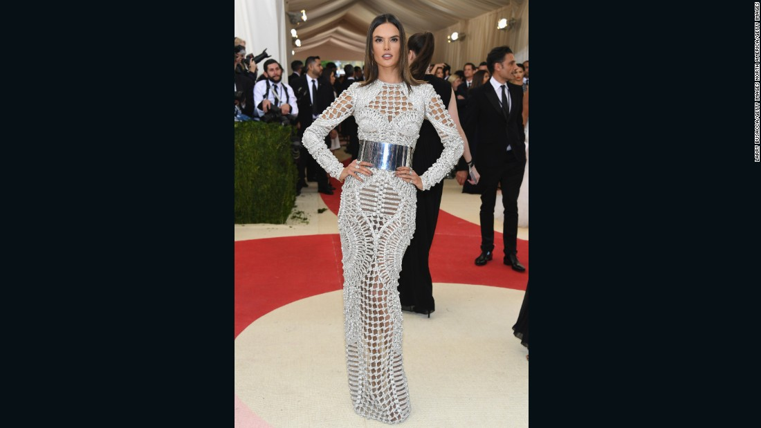 Alessandra Ambrosio also supports designer Olivier Rousteing, wearing Balmain.