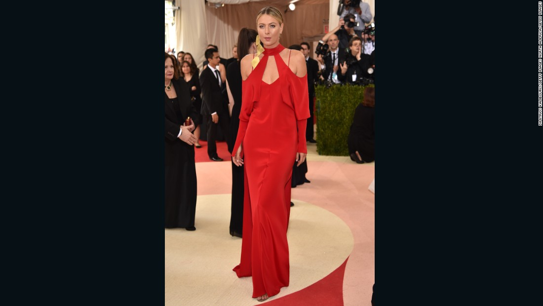 Maria Sharapova wears a red dress by Juan Carlos Obando.